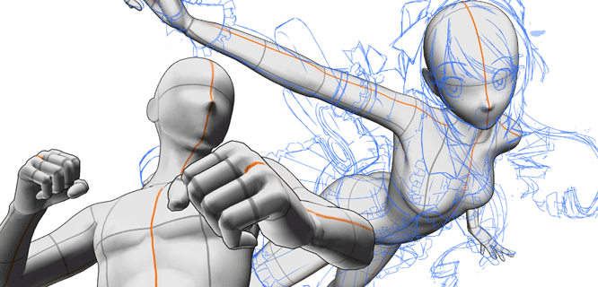 Use 3D drawing figures to draw challenging poses!