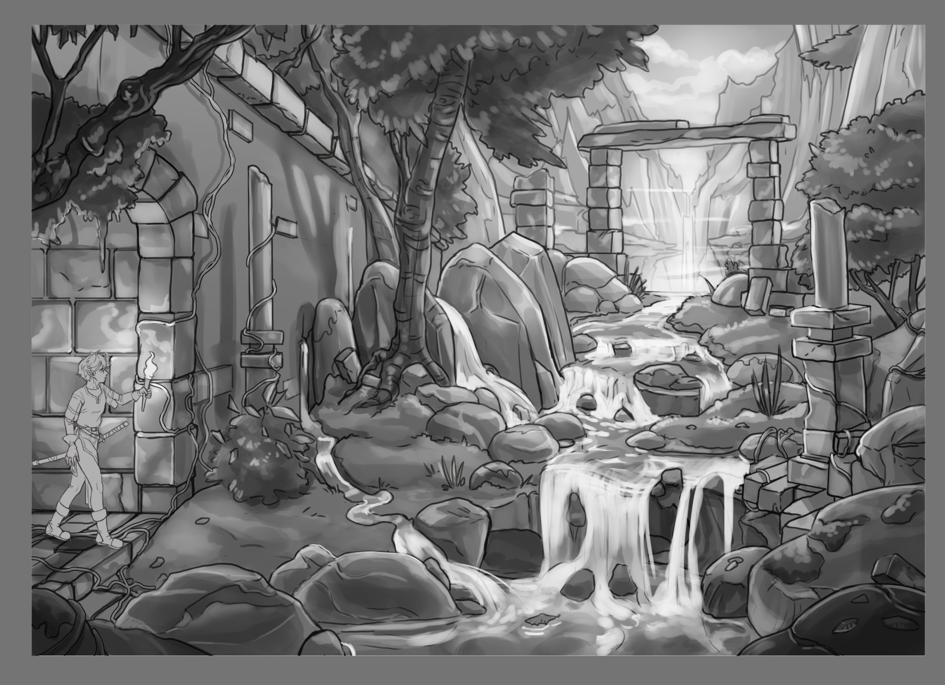Part 2 Greyscale Rendering Creating A Fantasy Landscape 2 By Falynevarger Clip Studio Tips