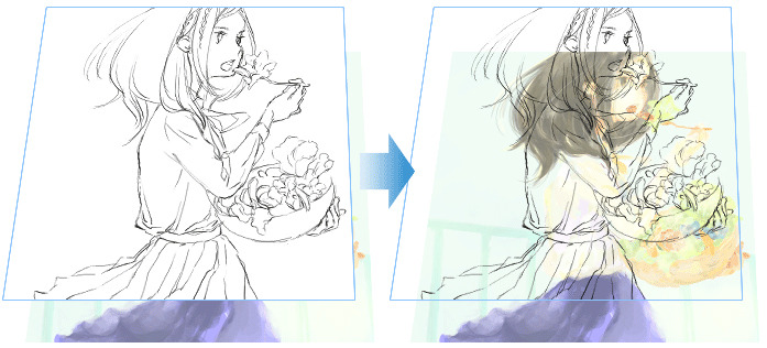 "Easily extract line art with the conversion function ""Recommended"