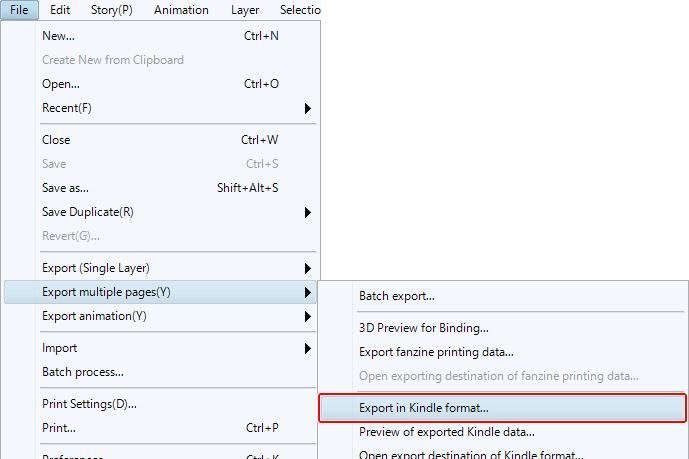clip studio paint export multiple pages