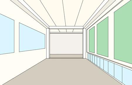 Dessin en perspective - Dessiner un couloir d\'école en perspective à ...